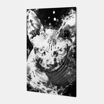 Thumbnail image of gxp sphynx cat from hell katze aus der hoelle splatter watercolor white weiß Canvas, Live Heroes