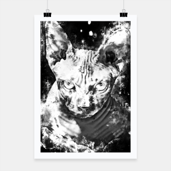 Thumbnail image of gxp sphynx cat from hell katze aus der hoelle splatter watercolor white weiß Plakat, Live Heroes