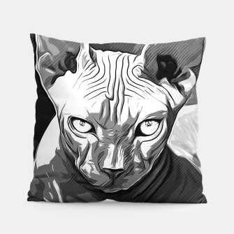 Thumbnail image of gxp sphynx cat from hell katze aus der hoelle vector art white weiß Kissen, Live Heroes