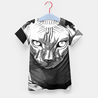 Thumbnail image of gxp sphynx cat from hell katze aus der hoelle vector art white weiß T-Shirt für kinder, Live Heroes