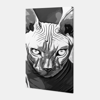 Thumbnail image of gxp sphynx cat from hell katze aus der hoelle vector art white weiß Canvas, Live Heroes
