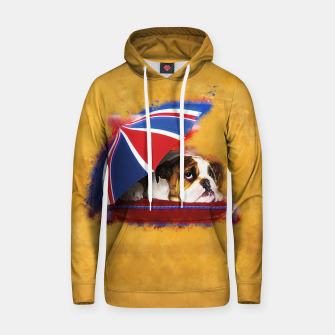 Thumbnail image of English Bulldog Puppy with umbrella Cotton hoodie, Live Heroes