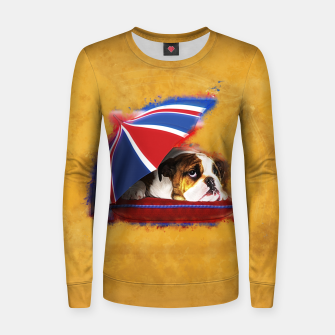Thumbnail image of English Bulldog Puppy with umbrella Woman cotton sweater, Live Heroes