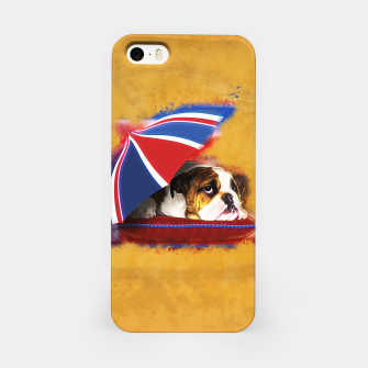 Thumbnail image of English Bulldog Puppy with umbrella iPhone Case, Live Heroes