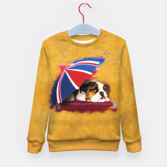 Thumbnail image of English Bulldog Puppy with umbrella Kid's sweater, Live Heroes
