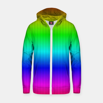 Ombre Shaded Rainbow Neon Music Equalizer Grid Cotton zip up hoodie imagen en miniatura
