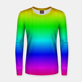 Ombre Shaded Rainbow Neon Music Equalizer Grid Woman cotton sweater imagen en miniatura