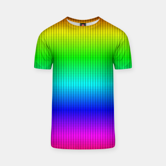 Ombre Shaded Rainbow Neon Music Equalizer Grid T-shirt imagen en miniatura