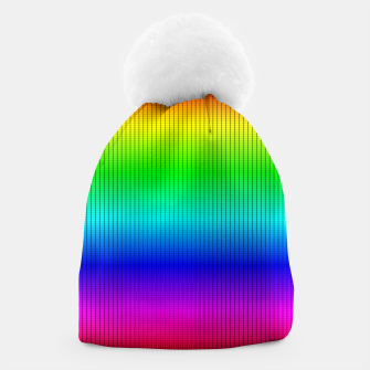 Ombre Shaded Rainbow Neon Music Equalizer Grid Beanie imagen en miniatura