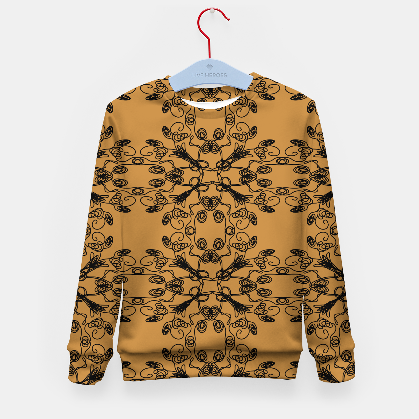 Image of KIDS mandalas sweater BLACK -- GOLD - Live Heroes
