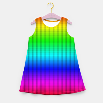 Miniatur Ombre Shaded Rainbow Neon Music Equalizer Grid Girl's summer dress, Live Heroes