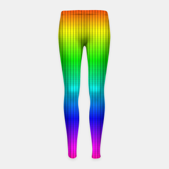 Miniatur Ombre Shaded Rainbow Neon Music Equalizer Grid Girl's leggings, Live Heroes