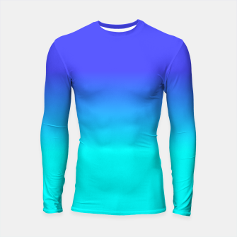 Thumbnail image of Neon Blue and Bright Neon Aqua Ombré Shade Color Fade Longsleeve rashguard , Live Heroes