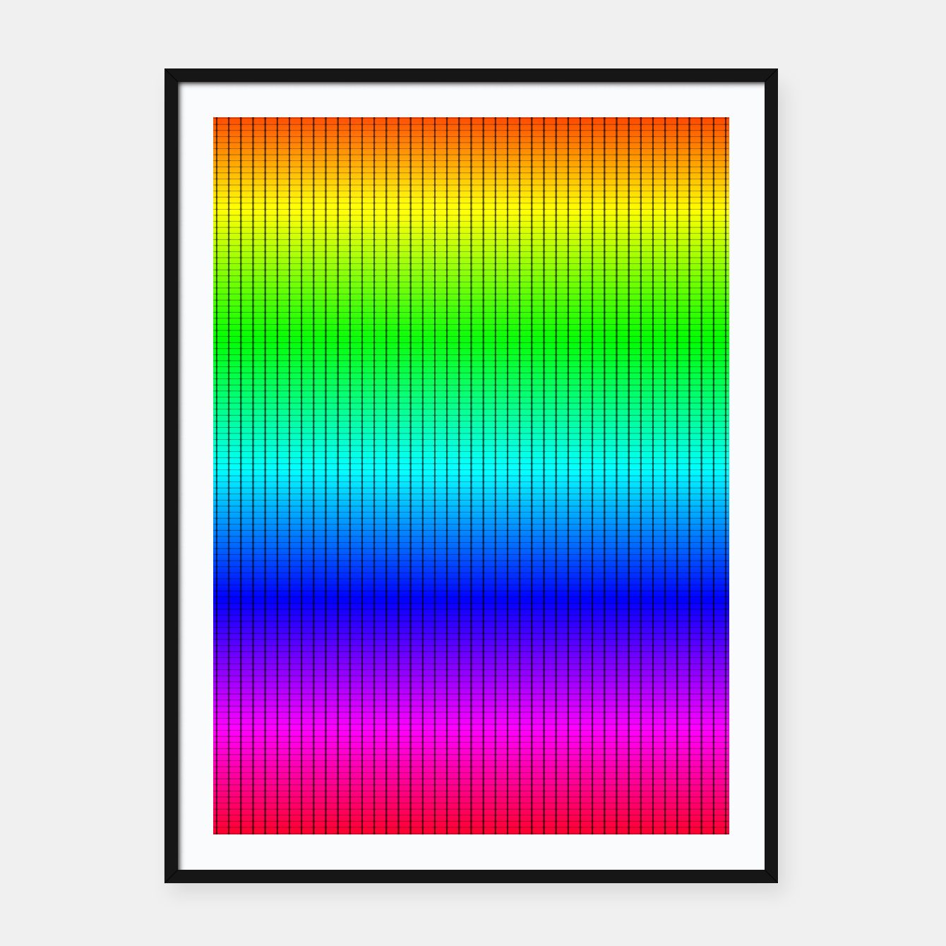 Imagen de Ombre Shaded Rainbow Neon Music Equalizer Grid Framed poster - Live Heroes