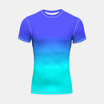 Thumbnail image of Neon Blue and Bright Neon Aqua Ombré Shade Color Fade Shortsleeve rashguard, Live Heroes