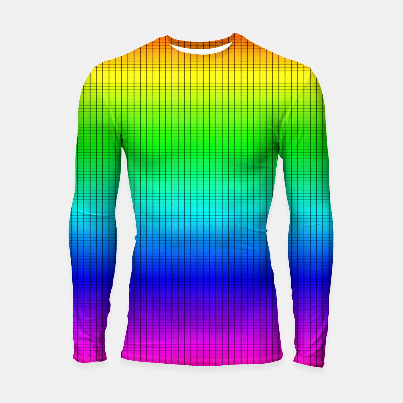 Imagen de Ombre Shaded Rainbow Neon Music Equalizer Grid Longsleeve rashguard  - Live Heroes