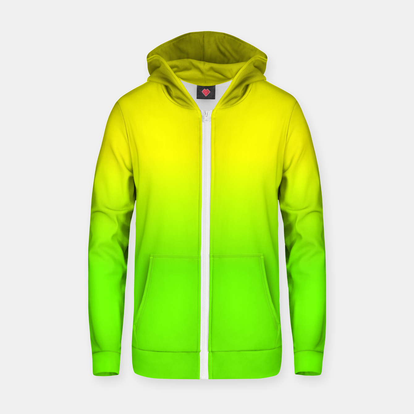 Imagen de Neon Lemon and Lime Ombré  Shade Color Fade  Cotton zip up hoodie - Live Heroes