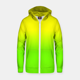 Neon Lemon and Lime Ombré  Shade Color Fade  Cotton zip up hoodie imagen en miniatura