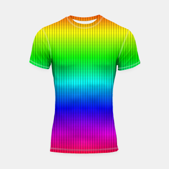 Miniatur Ombre Shaded Rainbow Neon Music Equalizer Grid Shortsleeve rashguard, Live Heroes