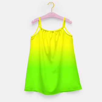 Neon Lemon and Lime Ombré  Shade Color Fade  Girl's dress imagen en miniatura