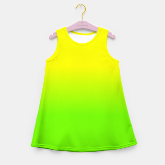 Neon Lemon and Lime Ombré  Shade Color Fade  Girl's summer dress imagen en miniatura