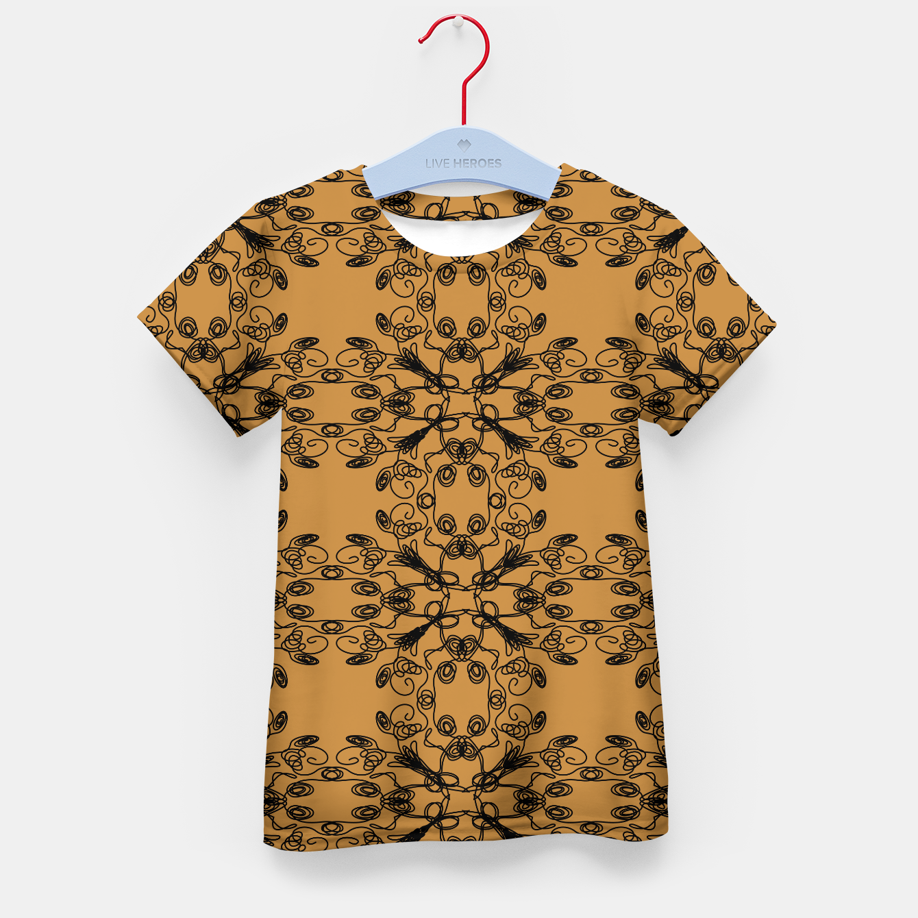 Image of KIDS t-shirt gold with mandalas BLACKs - Live Heroes
