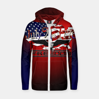 Thumbnail image of July 4th 1776 Freedom Cotton zip up hoodie, Live Heroes