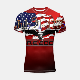 Thumbnail image of July 4th 1776 Freedom Shortsleeve rashguard, Live Heroes