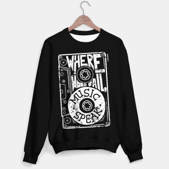 Miniatur Where Words Fail, Music Speaks Sweater regular, Live Heroes