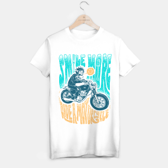 Thumbnail image of Smile more, Ride a motorcycle T-shirt regular, Live Heroes
