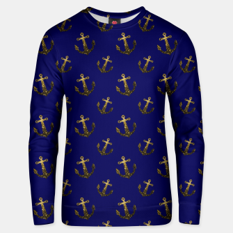 Thumbnail image of Yellow Gold sparkles Anchor pattern Navy blue Cotton sweater, Live Heroes