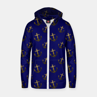 Thumbnail image of Yellow Gold sparkles Anchor pattern Navy blue Cotton zip up hoodie, Live Heroes