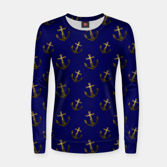 Thumbnail image of Yellow Gold sparkles Anchor pattern Navy blue Woman cotton sweater, Live Heroes