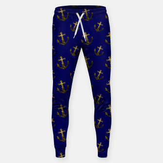 Thumbnail image of Yellow Gold sparkles Anchor pattern Navy blue Cotton sweatpants, Live Heroes