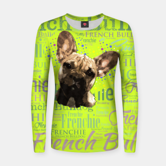 Thumbnail image of French Bulldog Puppy Woman cotton sweater, Live Heroes