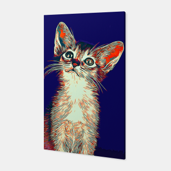 Miniatur gxp abyssinian cat abessinier katze kitten vector art horror blue Canvas, Live Heroes