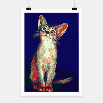 gxp abyssinian cat abessinier katze kitten vector art horror blue Plakat thumbnail image