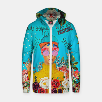 Thumbnail image of Flower Blue Cotton zip up hoodie, Live Heroes