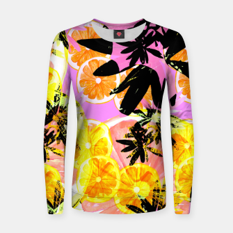 Thumbnail image of Leafy Orange Print Woman cotton sweater, Live Heroes