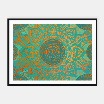 "Miniaturka ""Sea Turquoise Pattern Mandala Teal Gold"" Cartel con marco, Live Heroes"