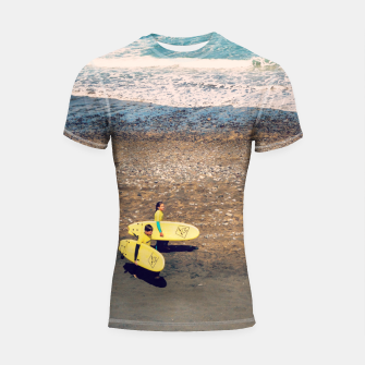 Imagen en miniatura de A couple of young surfers Shortsleeve rashguard, Live Heroes