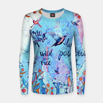 Thumbnail image of Birds & positive vibes Woman cotton sweater, Live Heroes