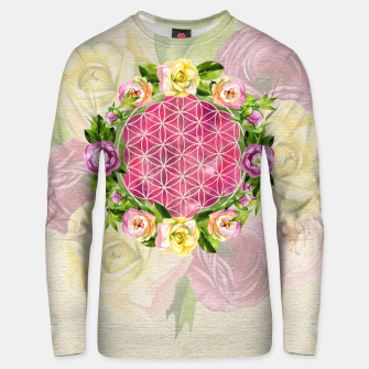 Thumbnail image of Flower of life in watercolor flower wreath Cotton sweater, Live Heroes