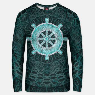 Thumbnail image of Dharma Wheel - Dharmachakra Silver and turquoise Cotton sweater, Live Heroes