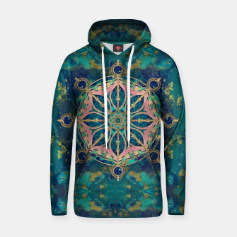 Thumbnail image of Dharma Wheel - Dharmachakra Gemstone & Gold Cotton hoodie, Live Heroes