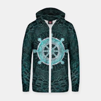 Thumbnail image of Dharma Wheel - Dharmachakra Silver and turquoise Cotton zip up hoodie, Live Heroes