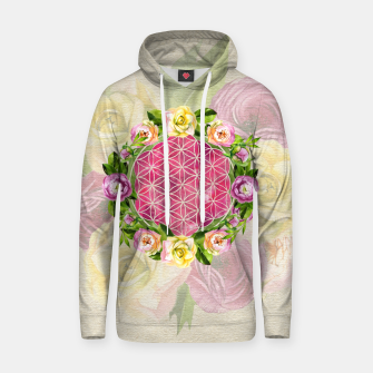 Thumbnail image of Flower of life in watercolor flower wreath Cotton hoodie, Live Heroes
