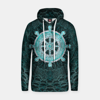 Thumbnail image of Dharma Wheel - Dharmachakra Silver and turquoise Cotton hoodie, Live Heroes