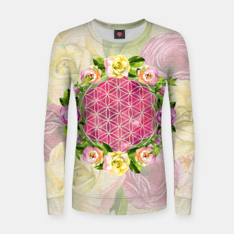 Thumbnail image of Flower of life in watercolor flower wreath Woman cotton sweater, Live Heroes