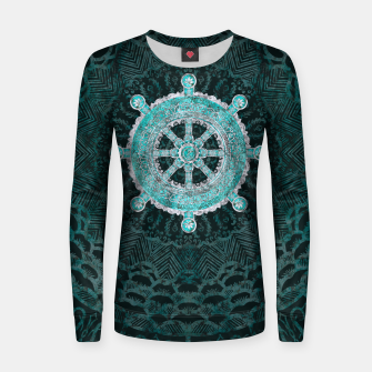 Thumbnail image of Dharma Wheel - Dharmachakra Silver and turquoise Woman cotton sweater, Live Heroes